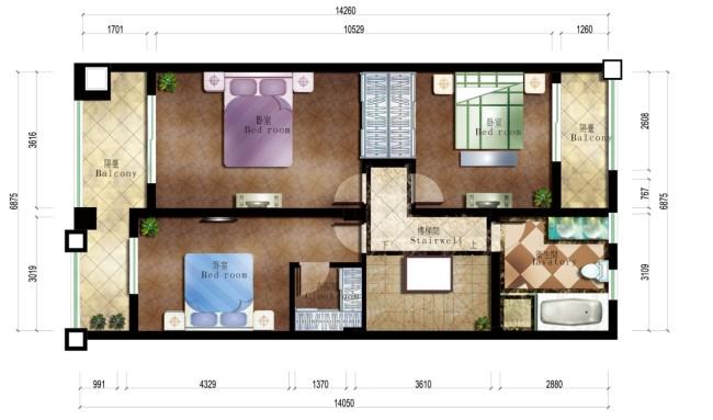 别墅室内设计平面彩图
