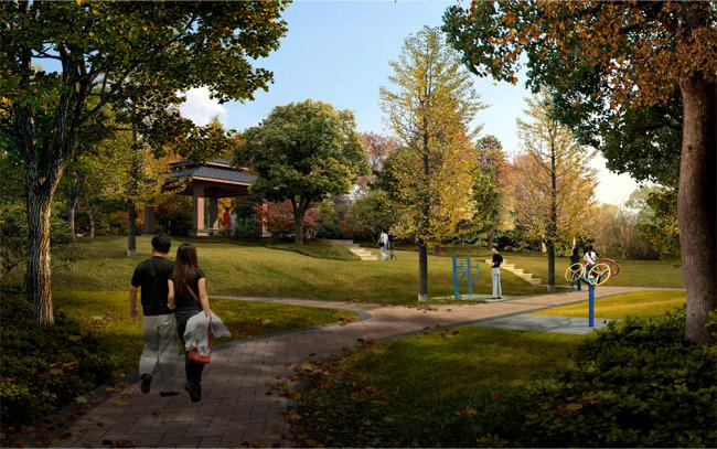景区公园道路园林景观绿化效果图图片