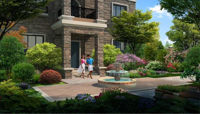 欧式别墅庭院园林景观设计效果图