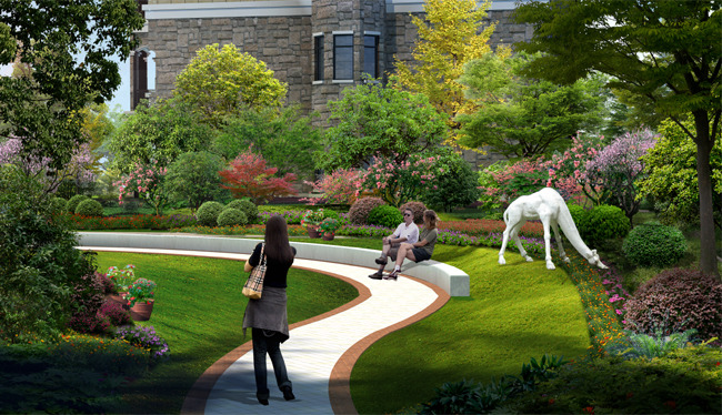 托斯卡纳风格小区园林景观设计效果图图片