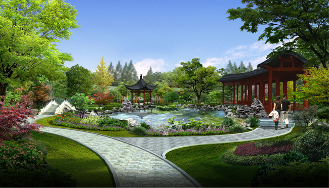 亭子长廊水系园林景观设计效果图