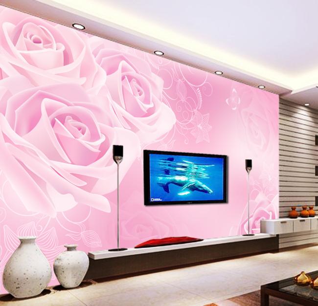 背景墙 电视 装饰画/淡雅玫瑰电视背景墙装饰画