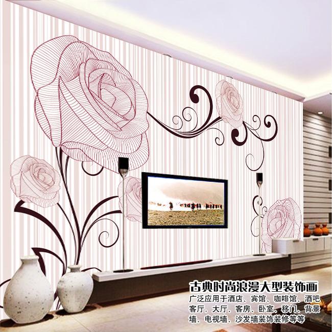 手绘玫瑰花素雅电视背景墙装饰画