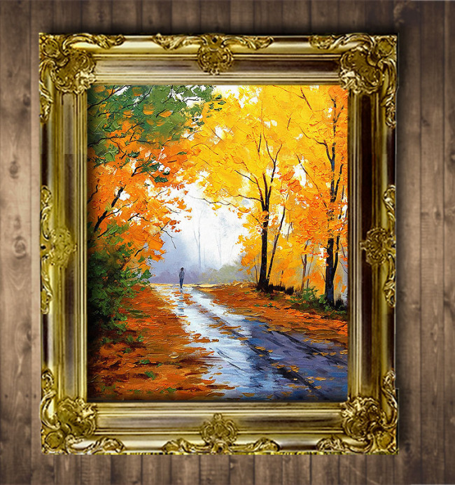 红叶满路欧洲风景油画