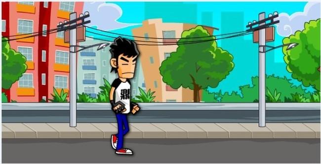 街上走路的卡通人物