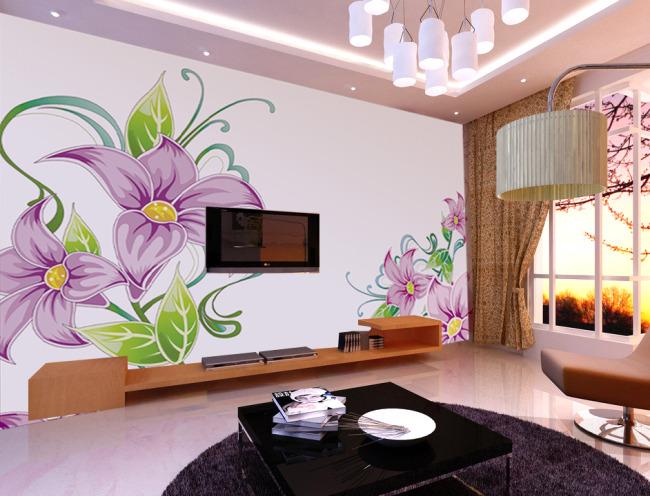 [版权图片]手绘花朵电视背景墙装饰画