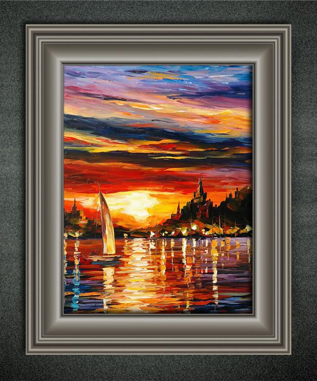 风景/夕阳下的帆船欧洲风景油画