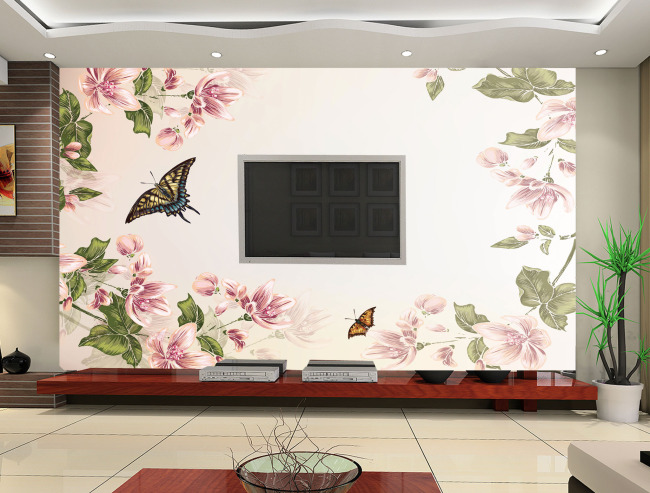 素雅手绘花背景墙
