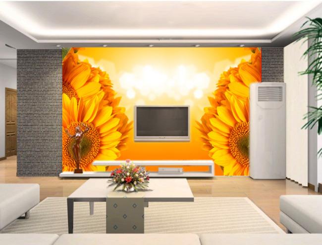 背景墙|装饰画 电视背景墙 手绘电视背景墙 > 大气向日葵背景墙  下一