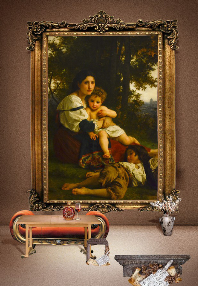 室内人物油画装饰画