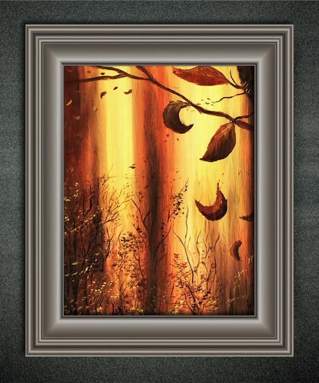 秋天的树叶欧洲风景油画
