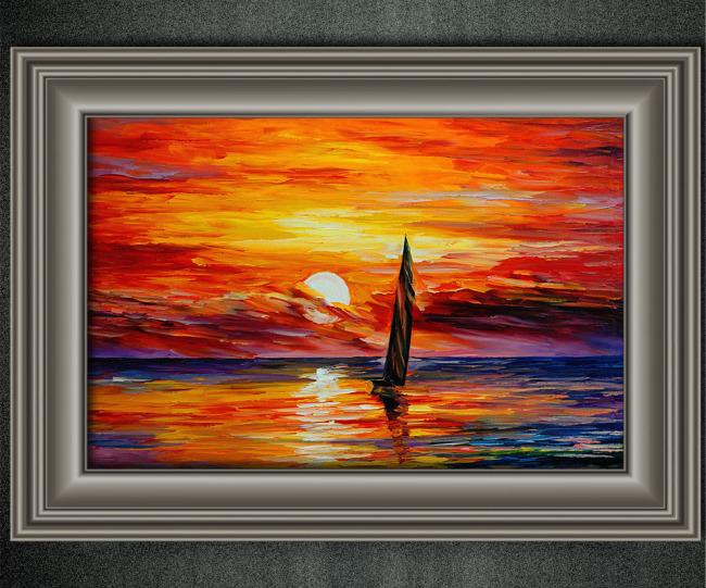油画 风景油画 > 迎着太阳升起风景油画