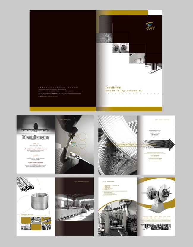 创意创新黑白灰金色企业宣传册设计模版模板下载图片