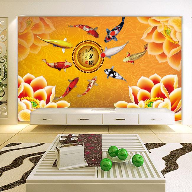背景墙|装饰画 电视背景墙 手绘电视背景墙 > 金色九鱼图背景墙  下一