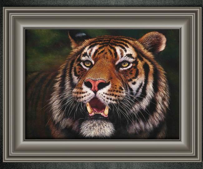 老虎动物油画装饰画