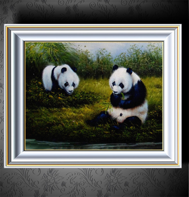 大熊猫动物油画装饰画