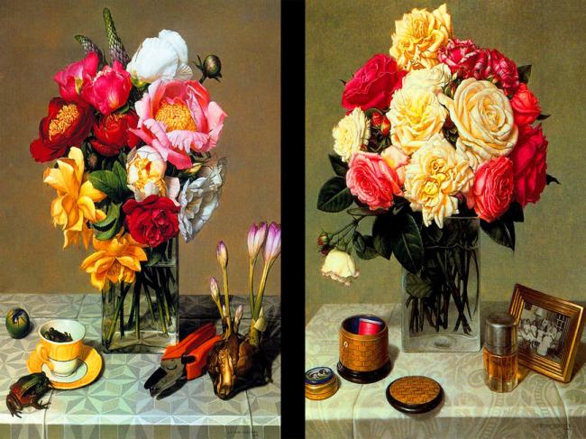 高清花卉油画图片下载 室内装饰画 高清花卉油画 花朵 鲜花 花瓶 高清