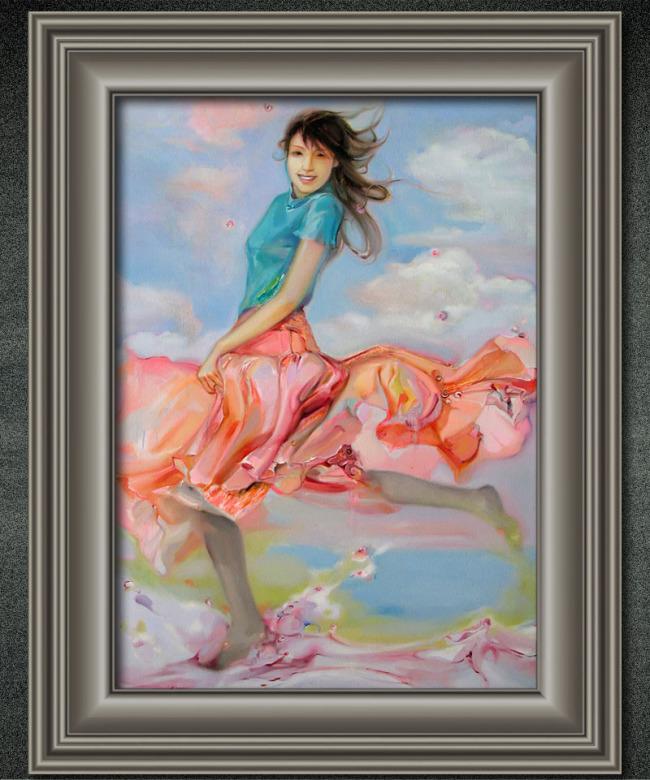 舞蹈女孩人物油画装饰画
