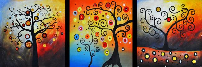 抽象油画图片下载 室内装饰画 抽象油画 抽象树 发财树 摇钱树