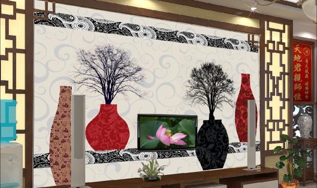 背景墙|装饰画 电视背景墙 手绘电视背景墙 > 客厅花瓶电视背景墙图片