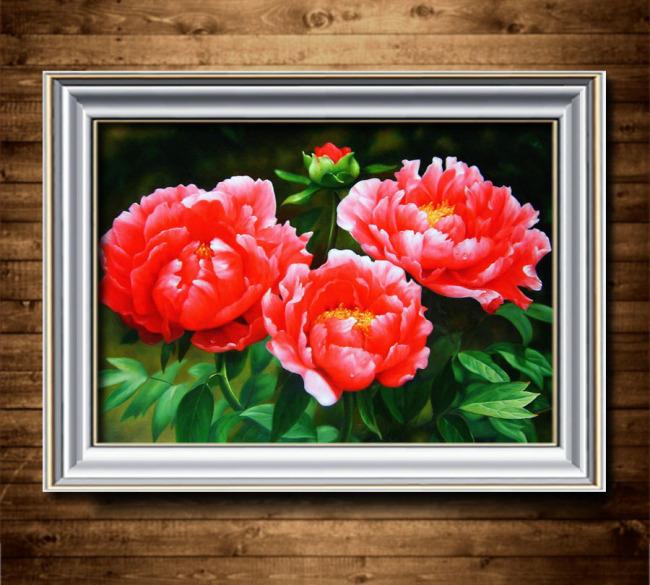 装饰画 油画 花卉/[版权图片]牡丹花卉油画装饰画