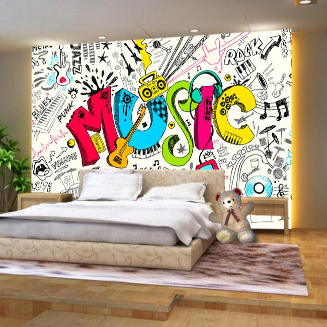 音乐涂鸦客厅电视背景墙