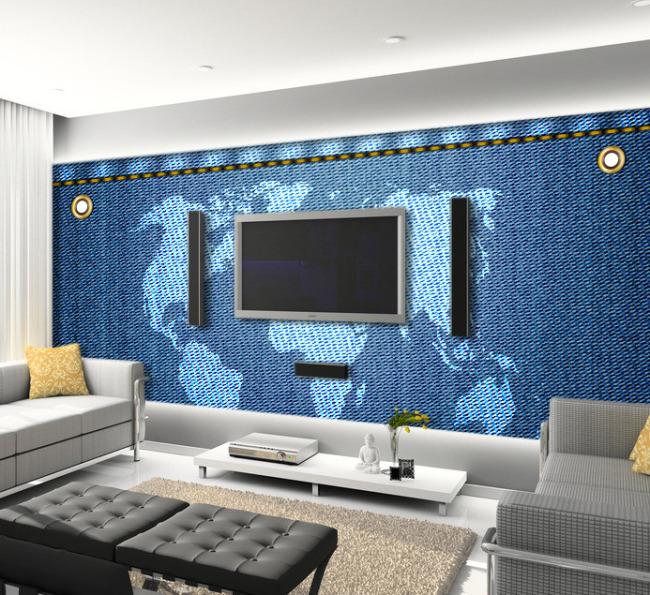 牛仔布世界地图客厅电视背景墙