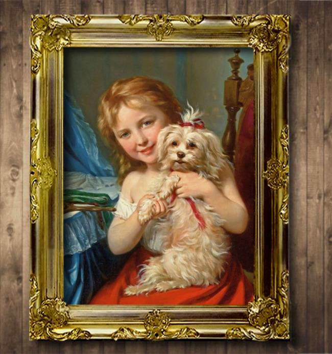 人物 醉爱/抱着小狗的小女孩古典主义风格人物油画