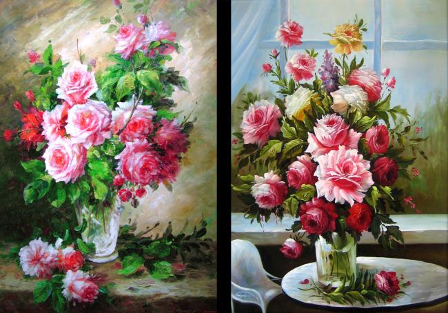 花卉油画图片下载 室内装饰画 花卉油画 玫瑰花卉 花瓶 窗户 鲜花