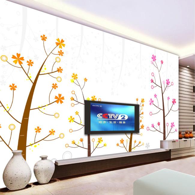 背景墙 电视/手绘树简约淡雅电视背景墙