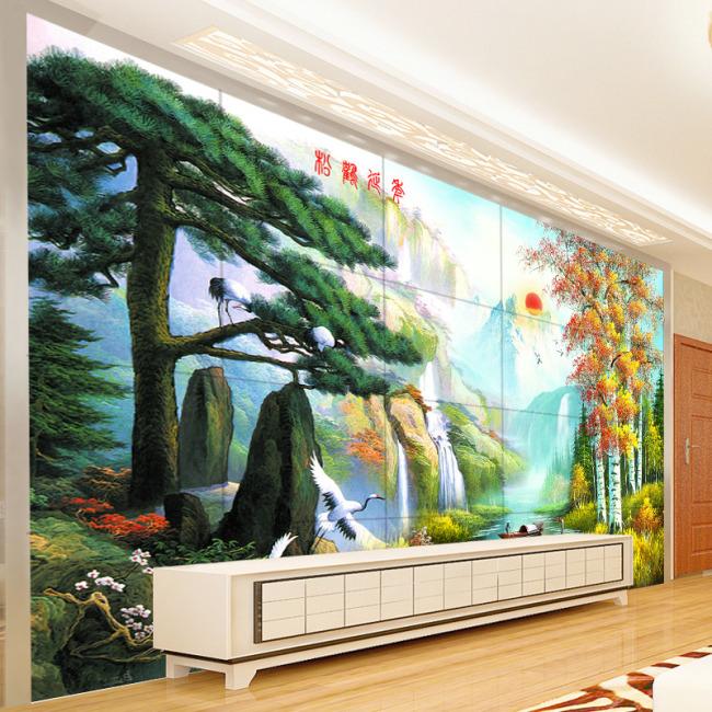 迎客松客厅电视背景墙装饰画