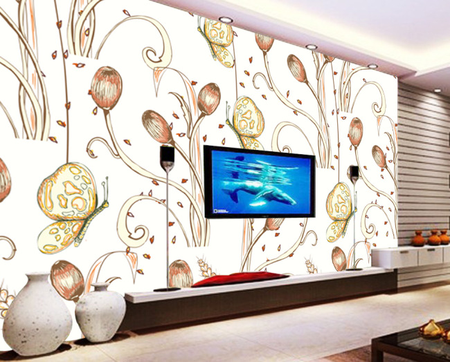 简约手绘风格花朵电视背景墙设计