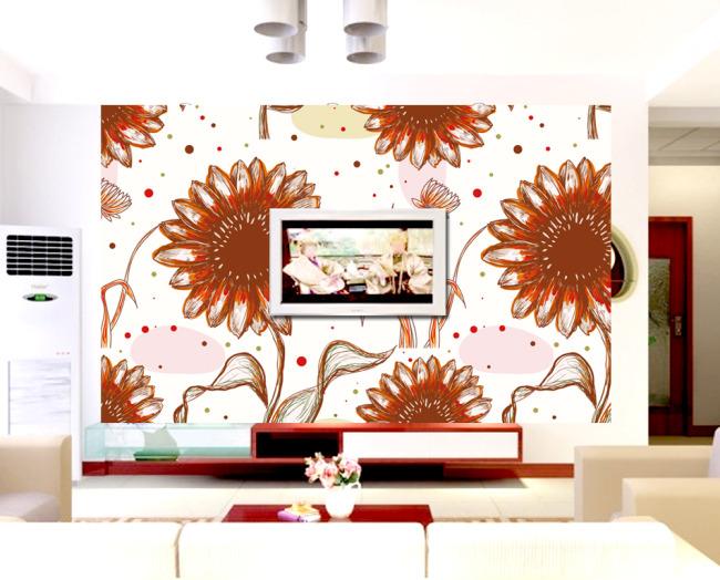 简约手绘向日葵花朵电视背景墙设计