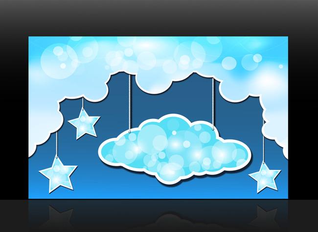 可爱卡通月亮星星云彩装饰画背景墙