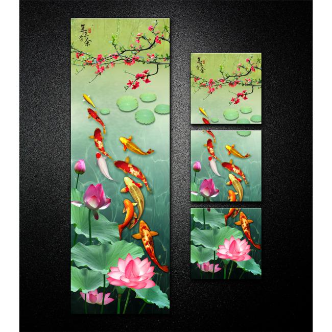 背景墙|装饰画 无框画 动物图案无框画 > 九鱼戏荷年年有余无框装饰画