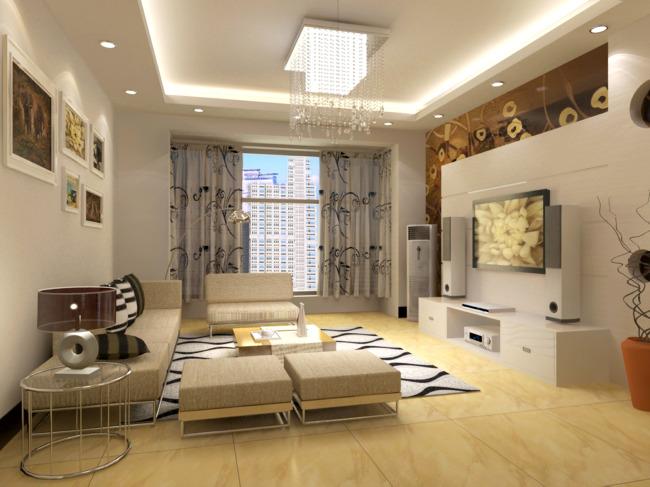 客厅背景墙                画框 窗帘 灯具 茶几 3d室内效果图 三房