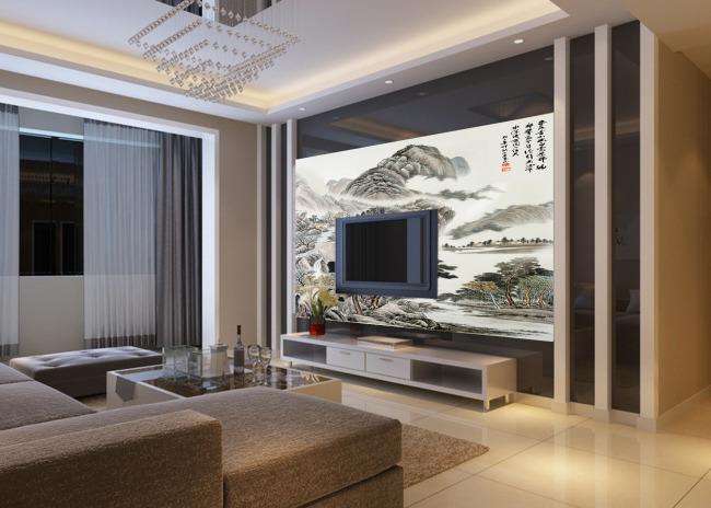 电视背景墙装修效果图 电视背景墙布 电视墙电视背景墙壁纸 现代简约
