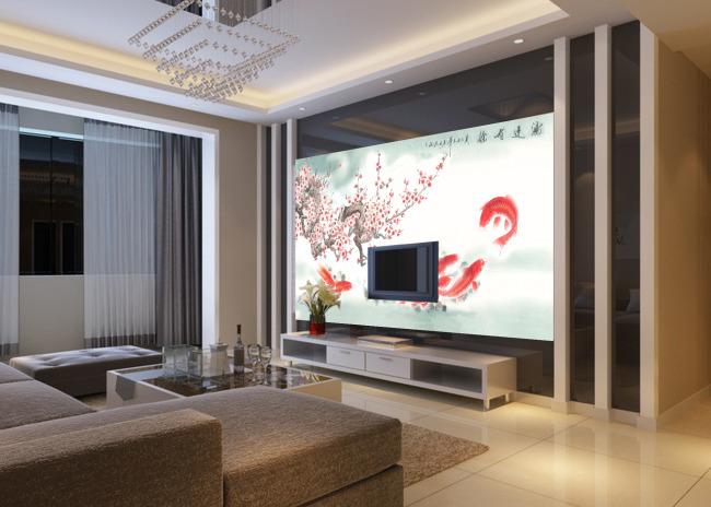 连年有余中式家居背景墙模板下载 11333862 背景墙 背景墙图片