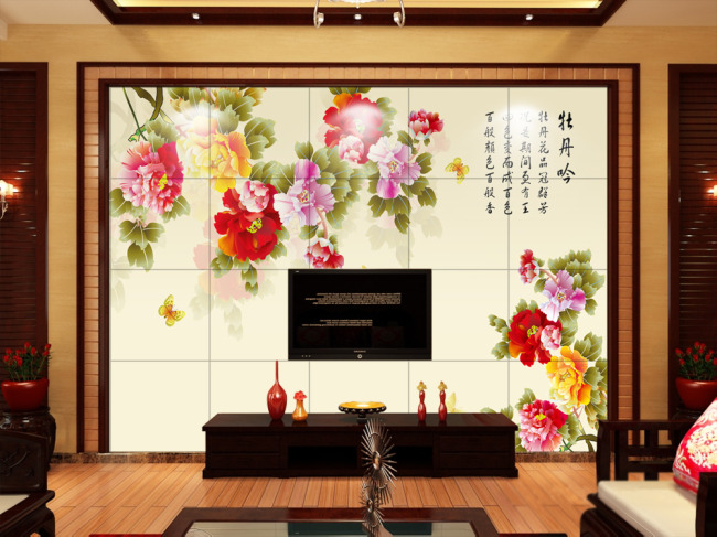 【psd】手绘牡丹电视背景墙