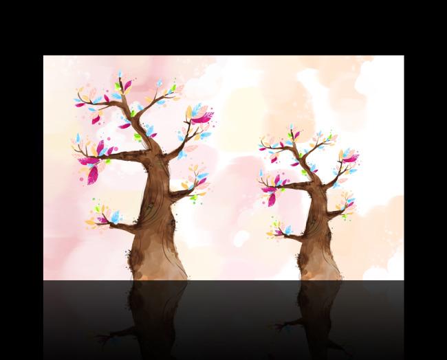 卡通树水彩画背景墙设计