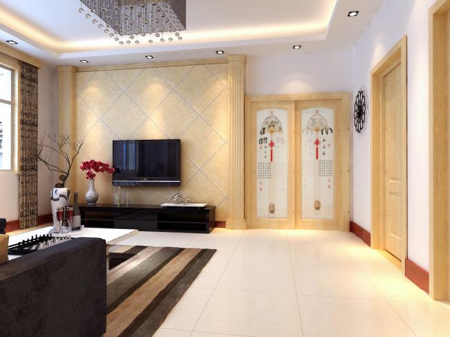 装修效果图室内设计模型客厅3d模型模板下载