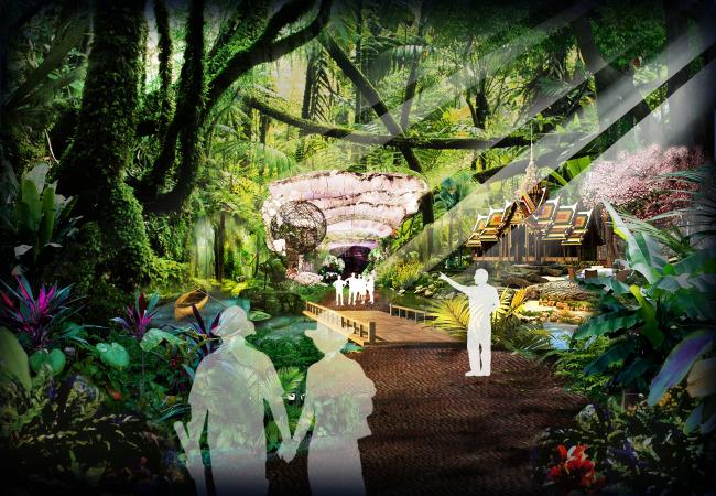 背景墙|装饰画 其他 展示设计 > 热带雨林展厅效果图