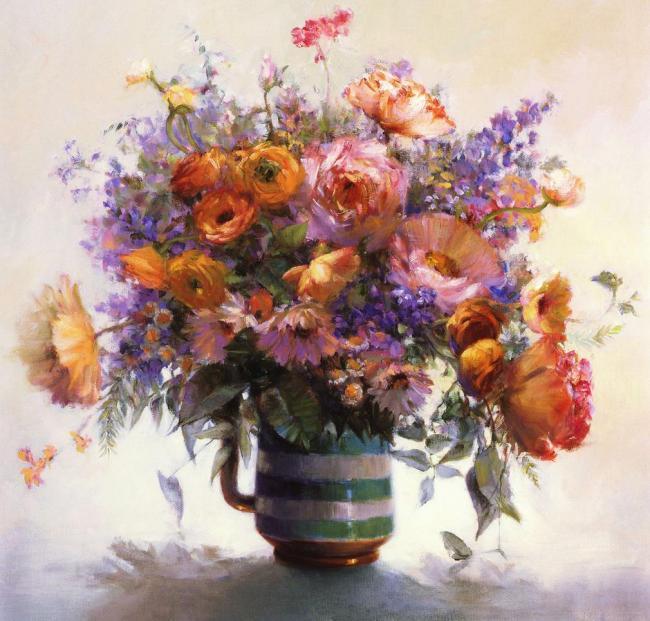 油画花卉鲜花花束油画满天星 花 花瓶 写实油画 欧洲油画 手绘 油花