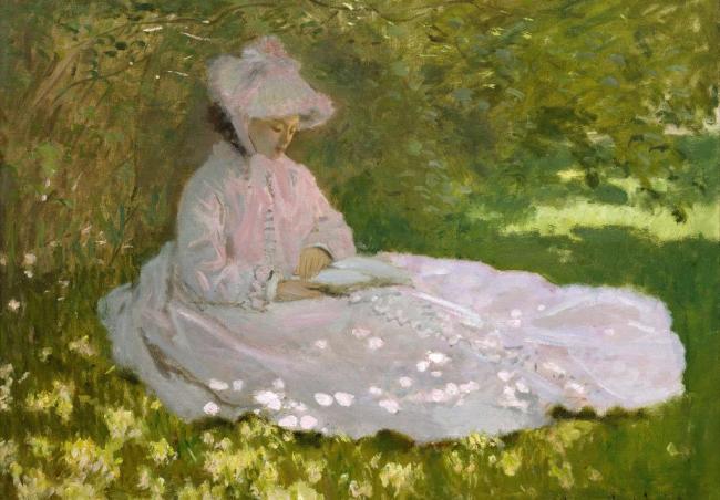 克劳德莫奈作品克劳德莫奈春天莫奈的夫人女人连衣裙草地花朵