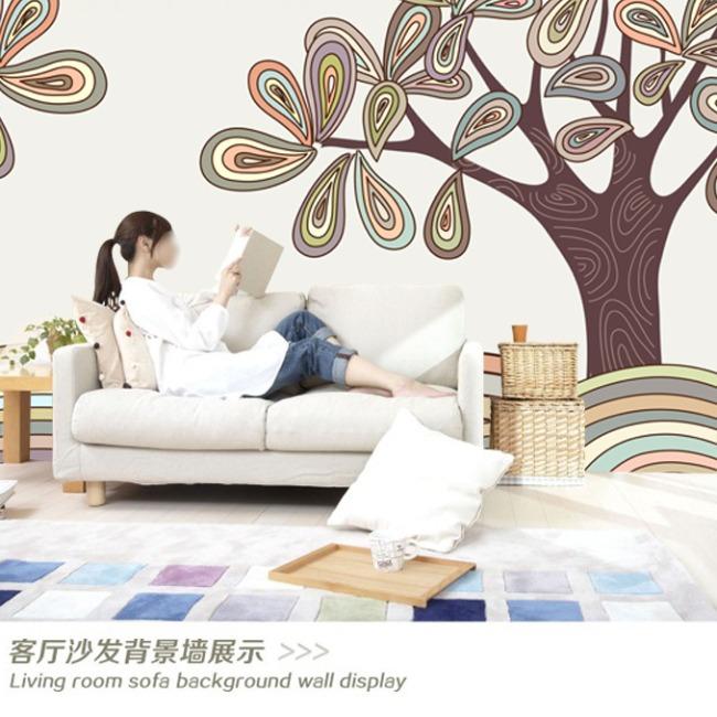 抽象手绘大树背景墙装饰画
