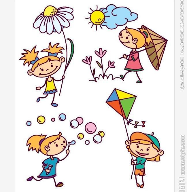 小孩放风筝手绘图片