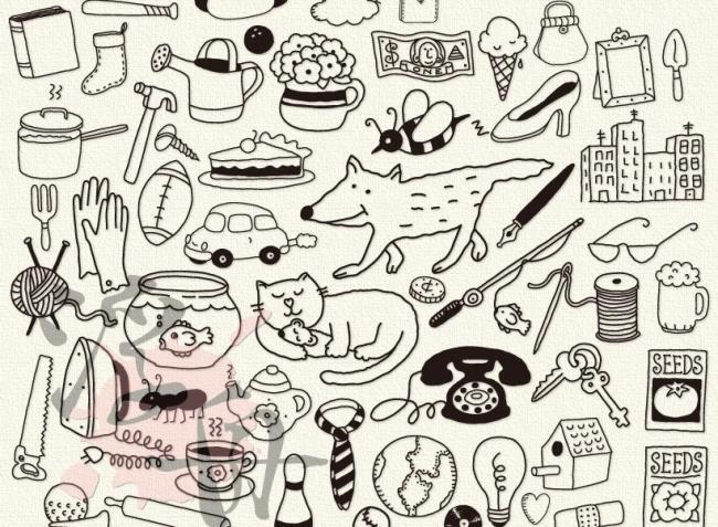 可爱白描手绘小动物 白描
