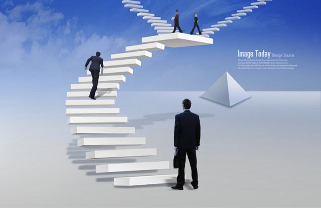 人物 素材 张望/旋转楼梯上行走的商务人物