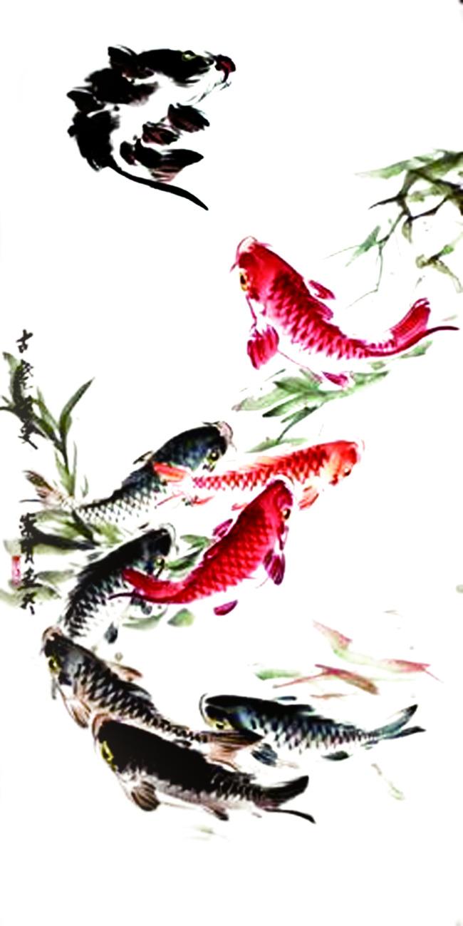 古典水墨画鱼 红色黑色鲤鱼 古典画模板下载 11364126图片