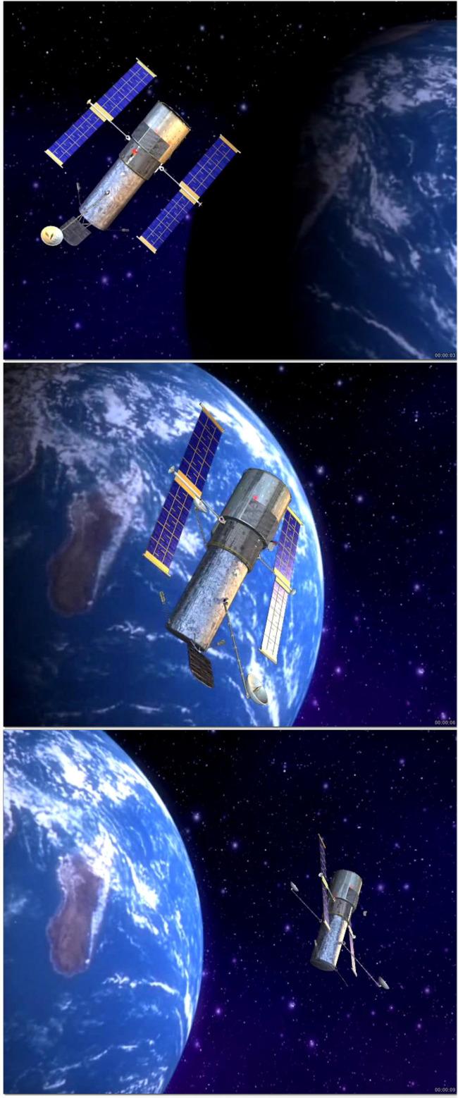 太空卫星绕地球飞行视频素材